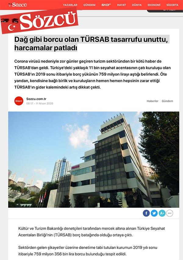 TÜRSAB'dan 'Borç' açıklaması; O BORÇ 2018 ÖNCESİNE AİTTİR