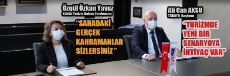 """Kültür Turizm Bakan Yardımcısı Özgül Özkan Yavuz kahvaltıda sektöre ilişkin düşüncelerini dile getirirken """"Sahadaki gerçek kahramanlar sizlersiniz."""" dedi."""